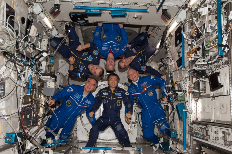 Which way is up? Astronauts pose in the ISS. Image from NASA.