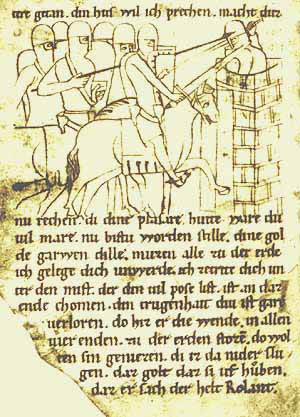 A historical paladin, from which the real term white knight is probably derived. The chief paladin's name is Roland and he's the guy on the horse attacking the castle. As you can plainly see in the illustration, in those days castle walls were much lower, and an attacker on horseback was high enough to strike down at the defenders from above. It took many years for defensive military technology to overcome the threat from stepladders.